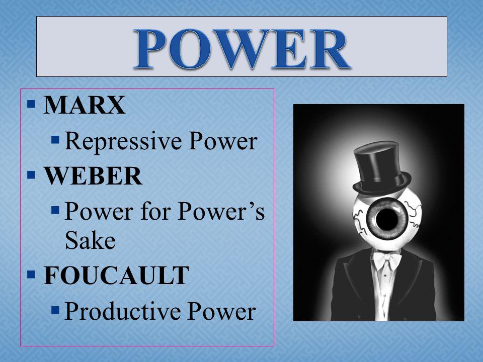 MARX  Repressive Power  WEBER  Power for Power's Sake  FOUCAULT  Productive Power