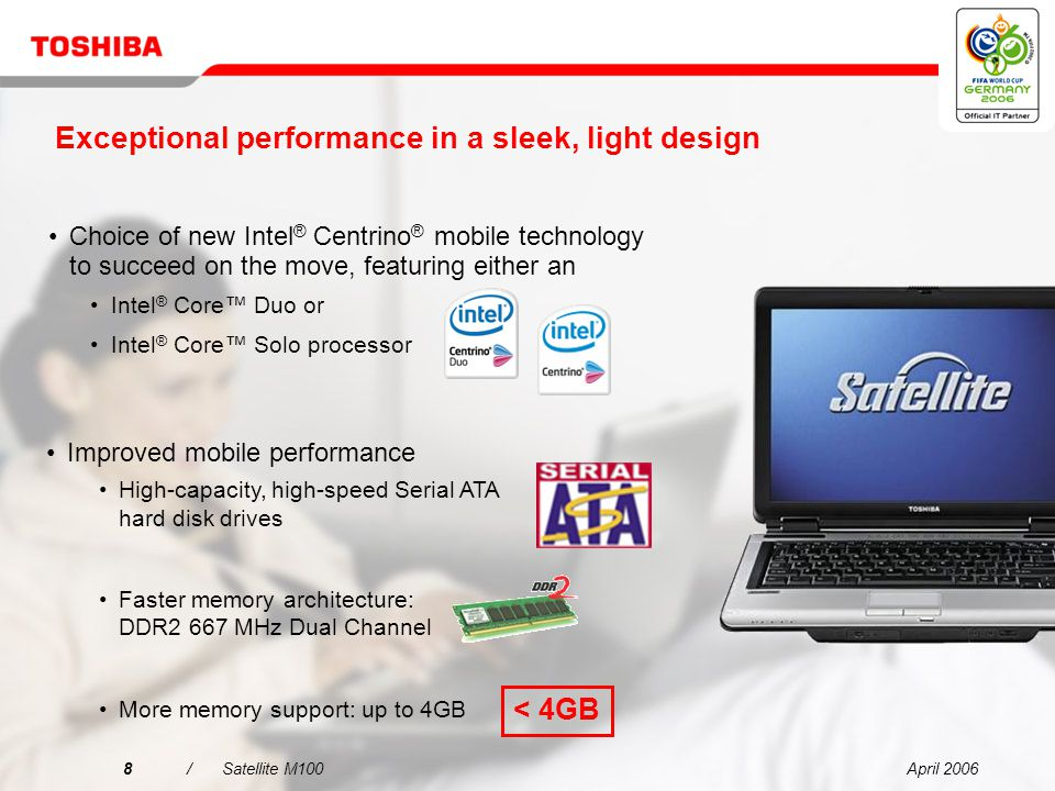 April 20067/Satellite M100 This dynamic-looking notebook comes in a sleek, light design weighing just 2.39 kg Exceptional performance in a sleek, light design
