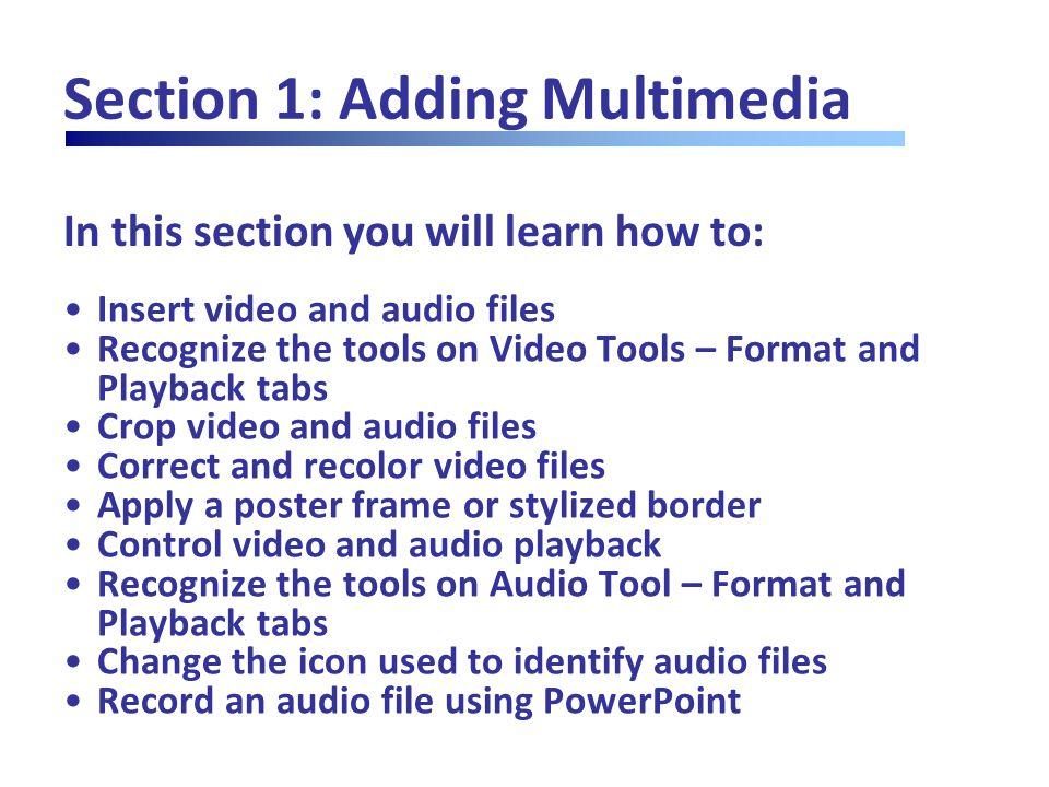 Lesson 1.4: Editing Audio Files Setting Playback Options Audio Tools  Playback  Audio Options