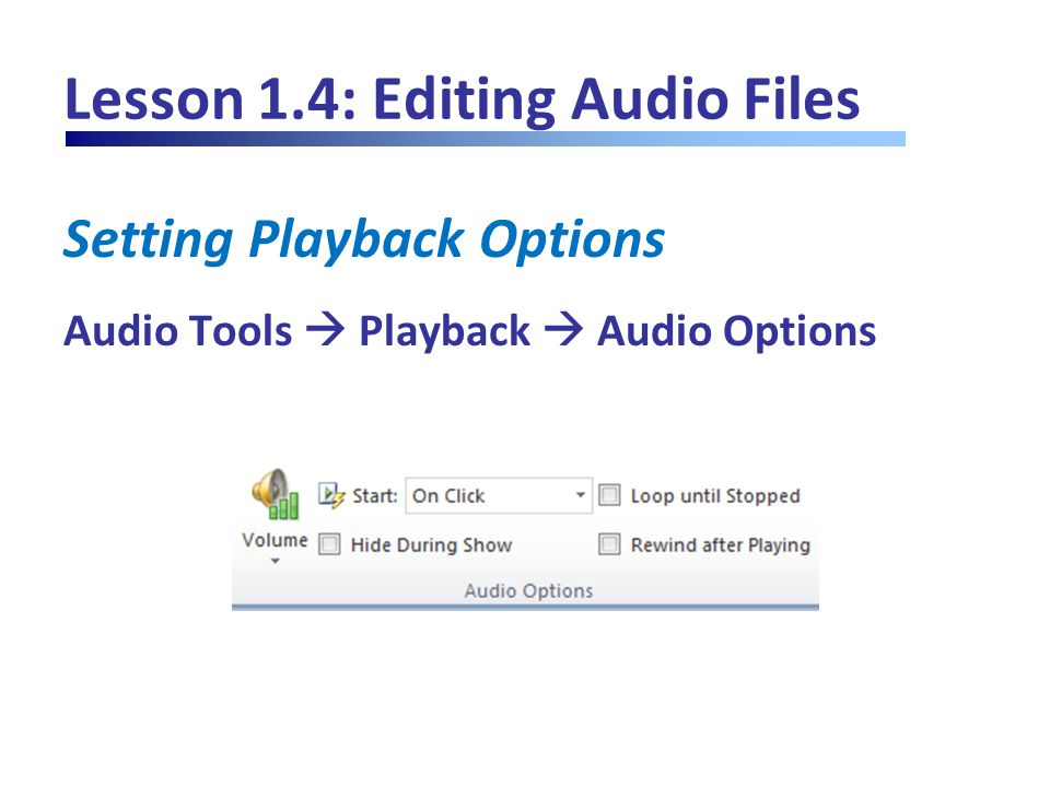 Lesson 1.4: Editing Audio Files Setting Playback Options Audio Tools  Playback  Audio Options