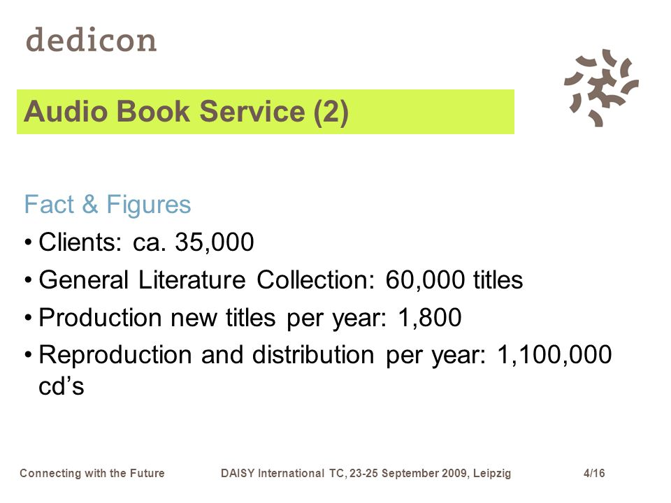 4/16Connecting with the FutureDAISY International TC, 23-25 September 2009, Leipzig Audio Book Service (2) Fact & Figures Clients: ca.