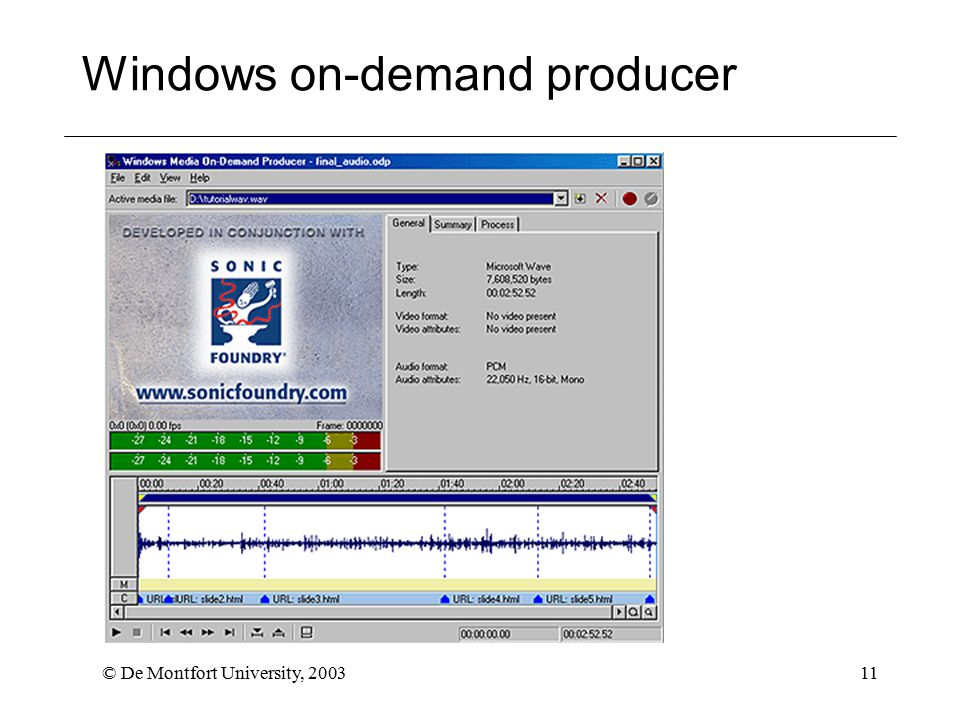 © De Montfort University, 200311 Windows on-demand producer