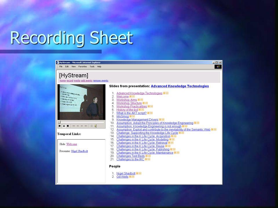 Recording Sheet
