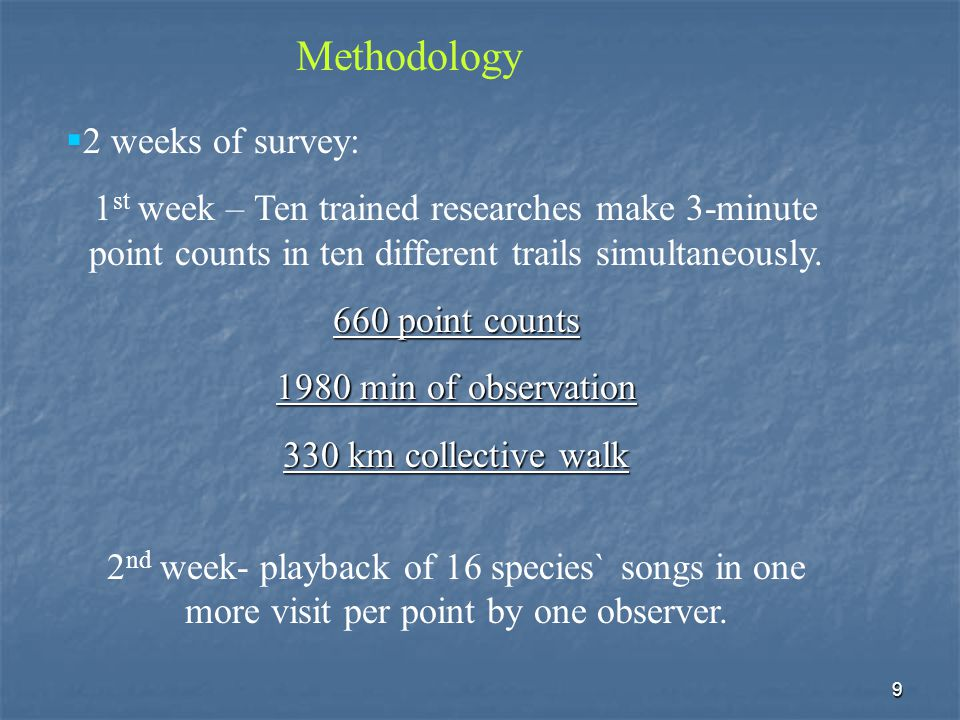 9  2 weeks of survey: 1 st week – Ten trained researches make 3-minute point counts in ten different trails simultaneously.