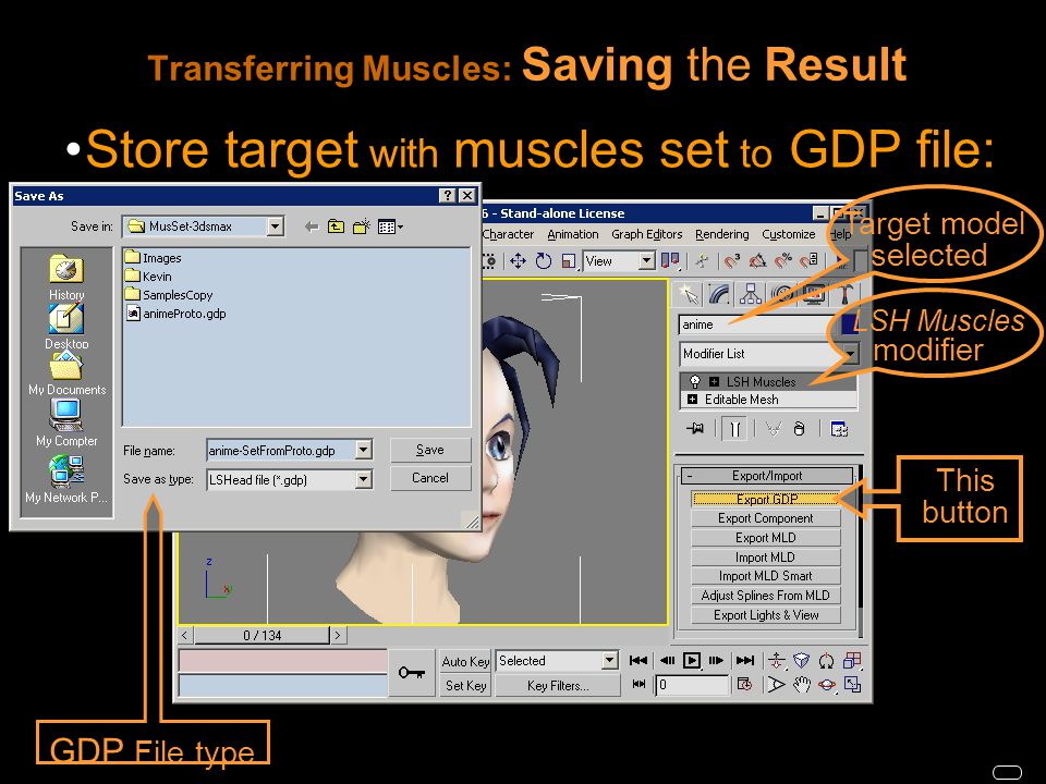 Transferring Muscles: Saving the Result Store target with muscles set to GDP file: GDP File type This button LSH Muscles modifier Target model selecte