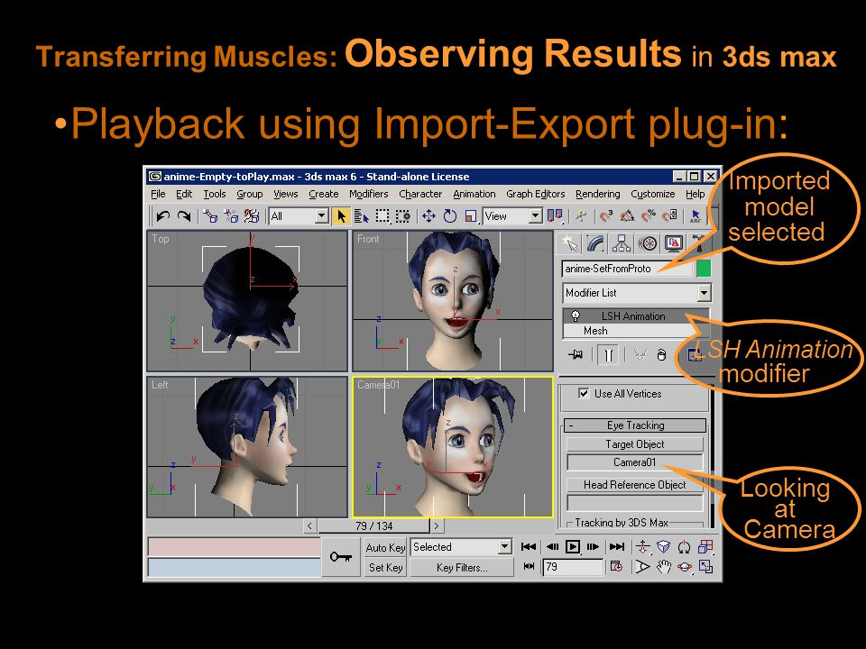 Transferring Muscles: Observing Results in 3ds max Playback using Import-Export plug-in: LSH Animation modifier Imported model selected Looking at Camera