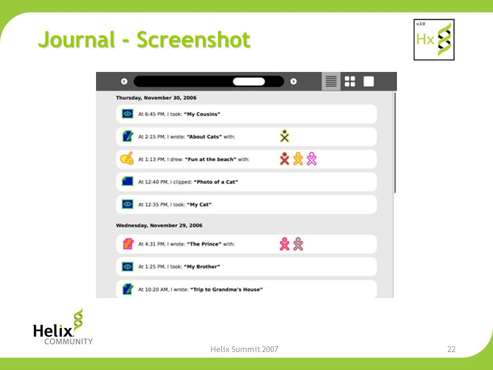 Helix Summit 200722 Journal - Screenshot