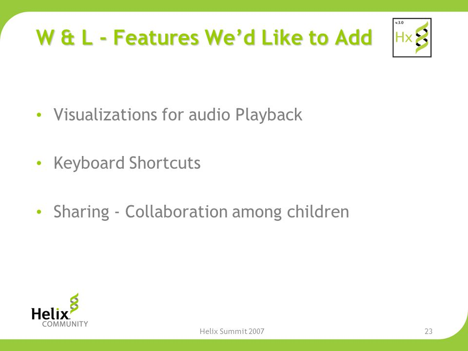 Helix Summit 200723 W & L - Features We'd Like to Add Visualizations for audio Playback Keyboard Shortcuts Sharing - Collaboration among children