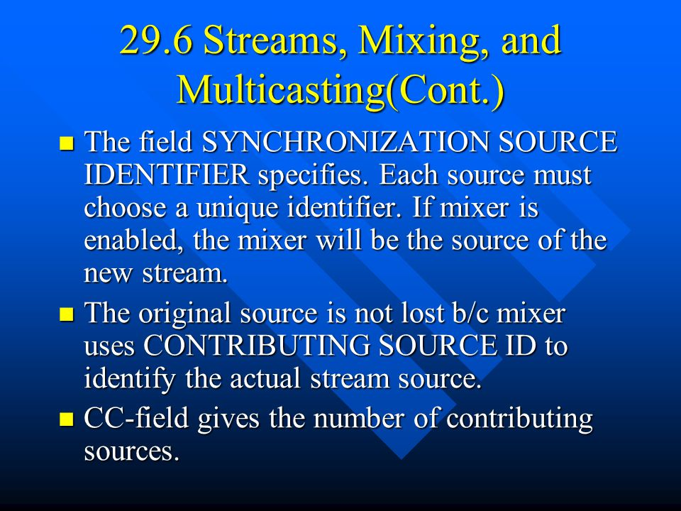29.6 Streams, Mixing, and Multicasting(Cont.) The field SYNCHRONIZATION SOURCE IDENTIFIER specifies.