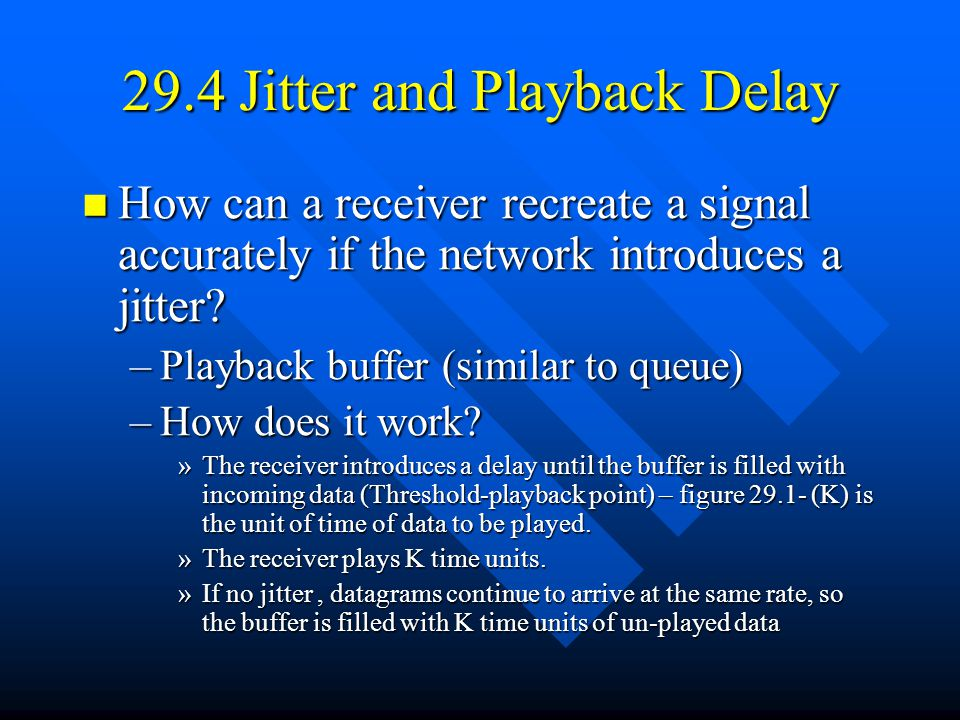 29.4 Jitter and Playback Delay How can a receiver recreate a signal accurately if the network introduces a jitter.