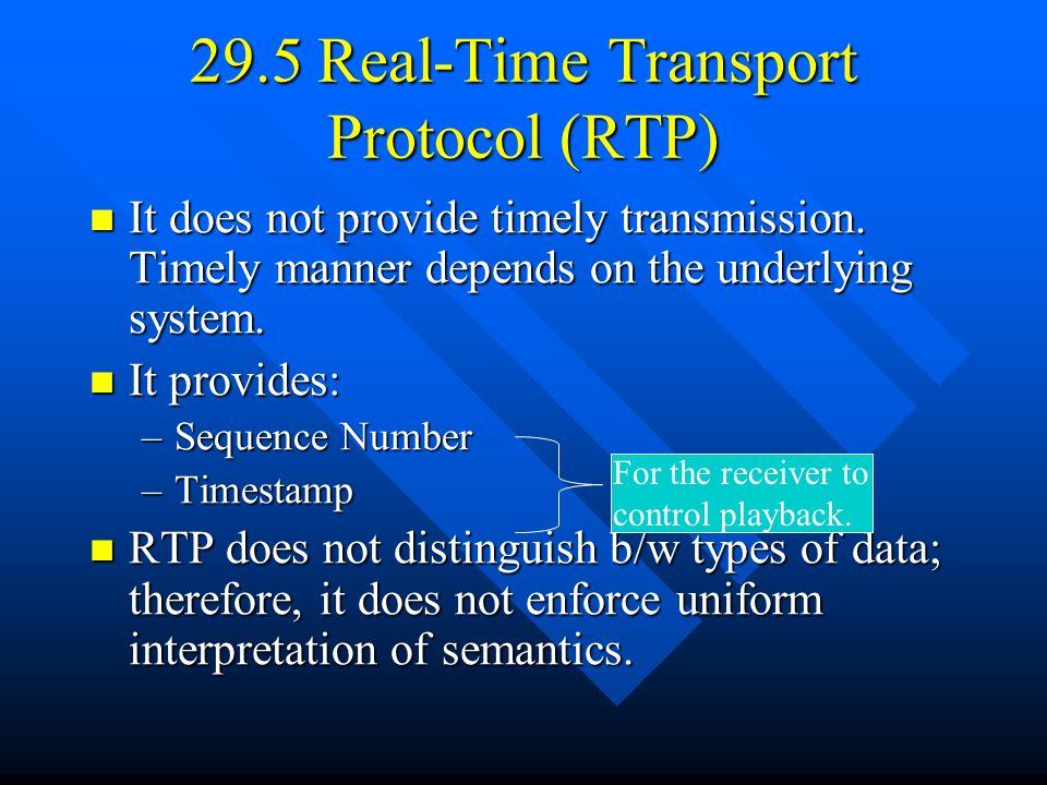 29.5 Real-Time Transport Protocol (RTP) It does not provide timely transmission.