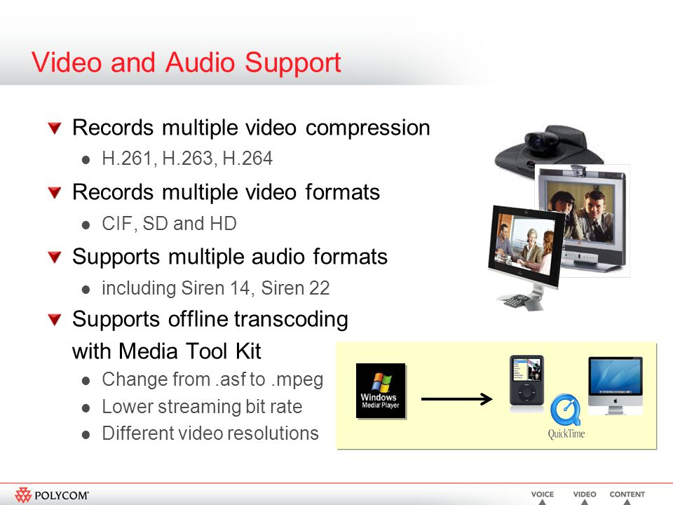 Video and Audio Support Records multiple video compression H.261, H.263, H.264 Records multiple video formats CIF, SD and HD Supports multiple audio formats including Siren 14, Siren 22 Supports offline transcoding with Media Tool Kit Change from.asf to.mpeg Lower streaming bit rate Different video resolutions