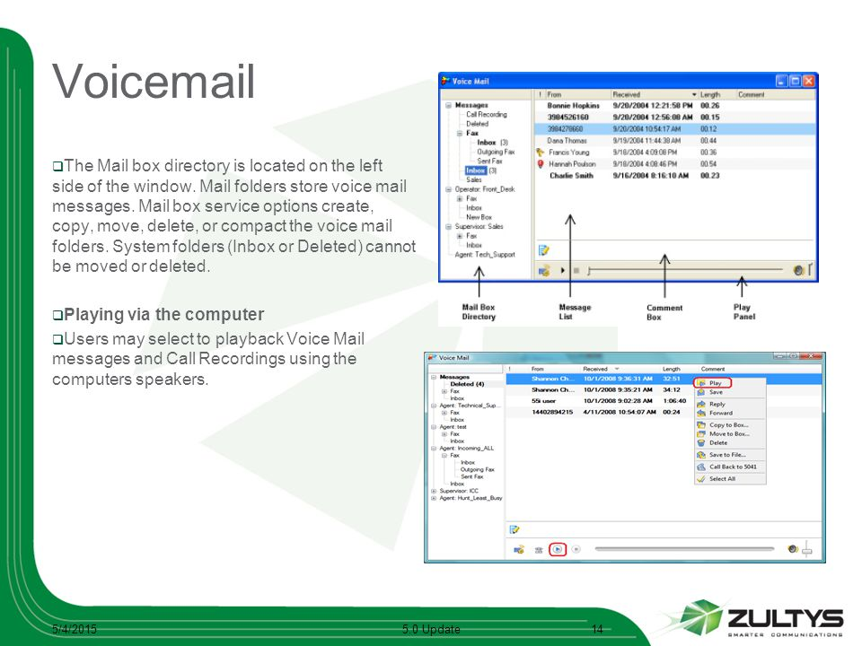 Voicemail  The Mail box directory is located on the left side of the window. Mail folders store voice mail messages. Mail box service options create,