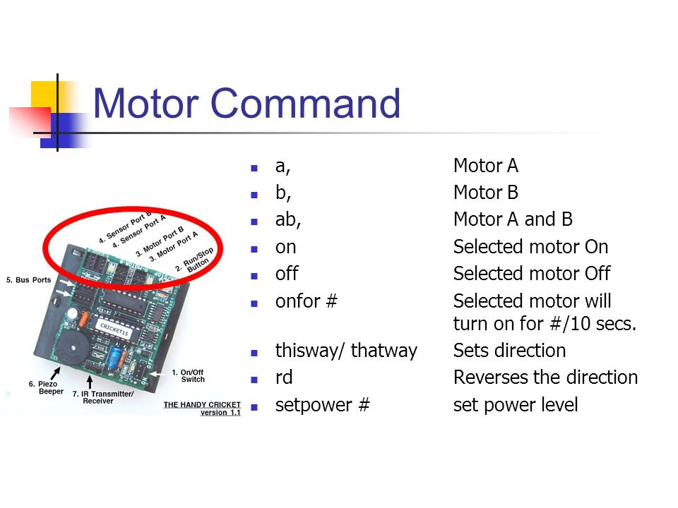 Motor Command a,Motor A b,Motor B ab,Motor A and B on Selected motor On off Selected motor Off onfor # Selected motor will turn on for #/10 secs. this