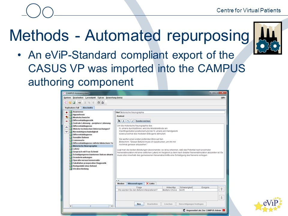 Methods - Automated repurposing An eViP-Standard compliant export of the CASUS VP was imported into the CAMPUS authoring component Centre for Virtual Patients