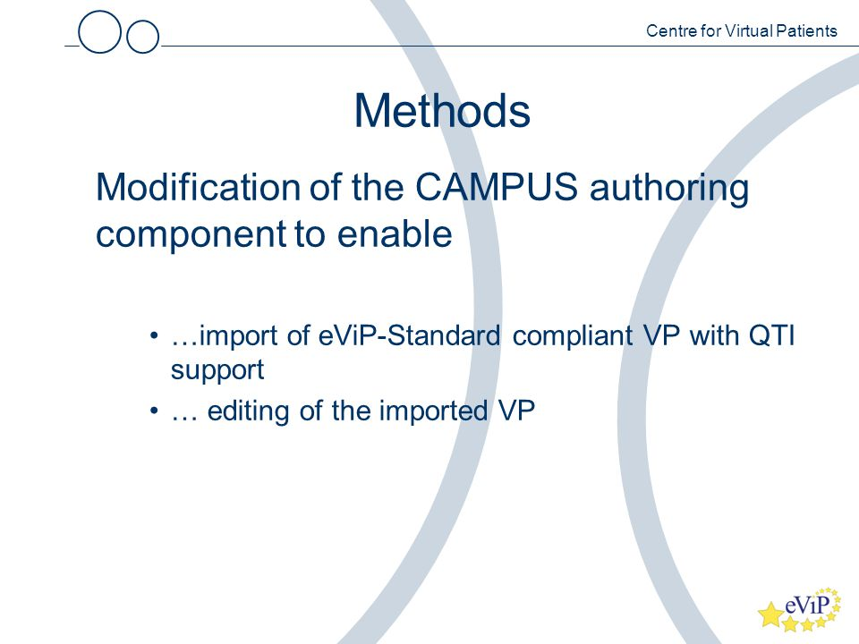 Methods Modification of the CAMPUS authoring component to enable …import of eViP-Standard compliant VP with QTI support … editing of the imported VP Centre for Virtual Patients