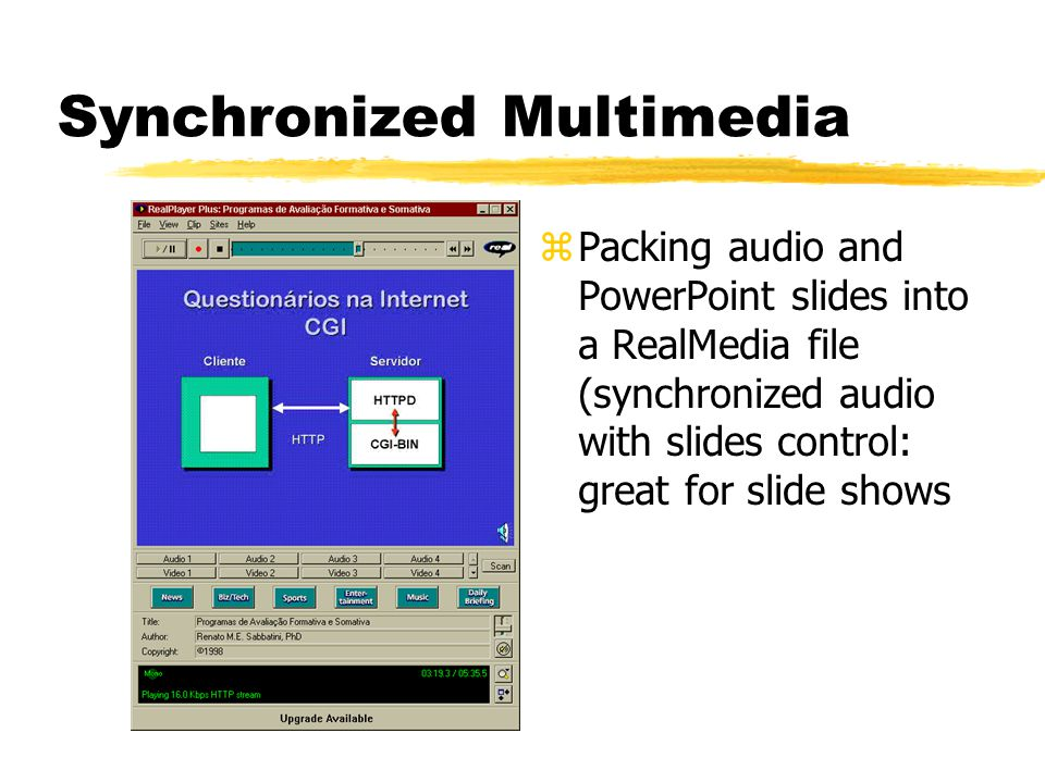 Synchronized Multimedia zSynchronized HTML pages with streaming audio (guided tours, slide shows)