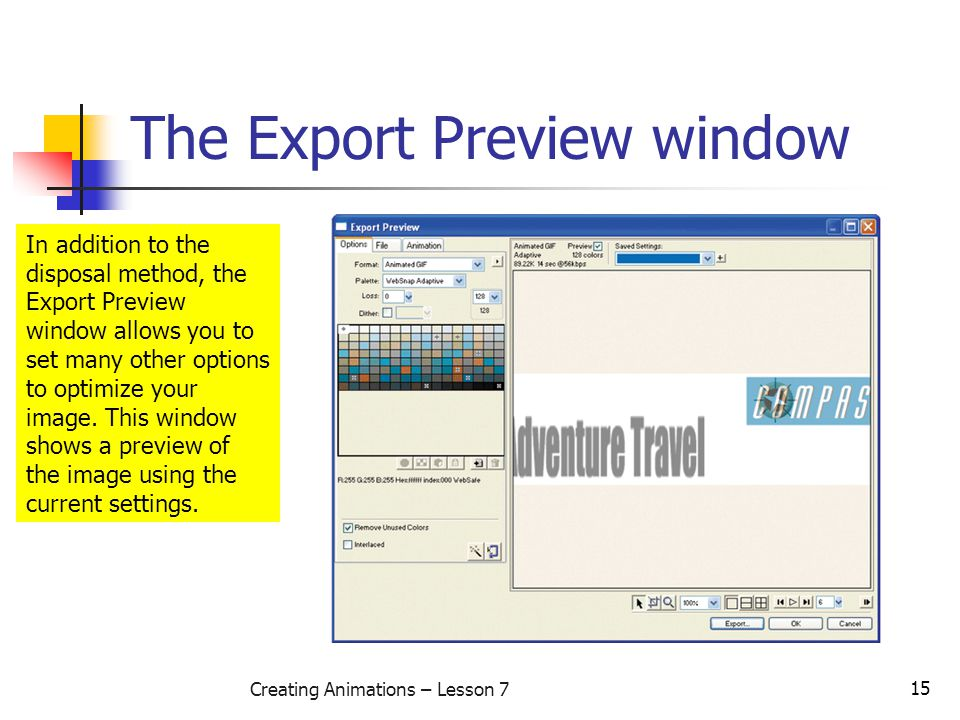 15 Creating Animations – Lesson 7 The Export Preview window In addition to the disposal method, the Export Preview window allows you to set many other options to optimize your image.