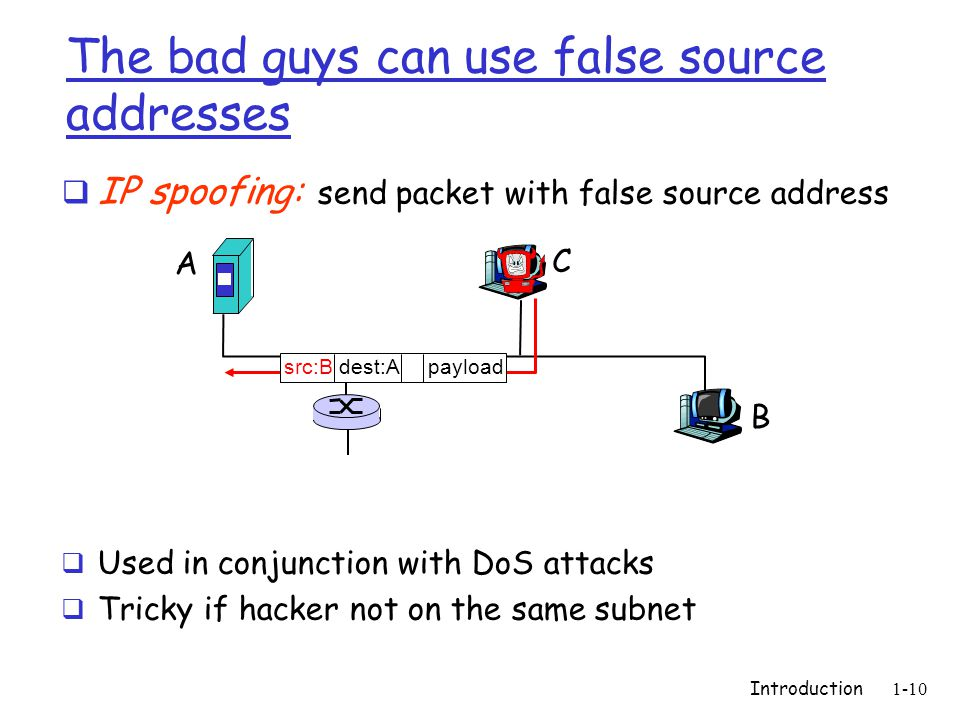 Introduction 1-10 The bad guys can use false source addresses  IP spoofing: send packet with false source address  Used in conjunction with DoS attacks  Tricky if hacker not on the same subnet A B C src:B dest:A payload
