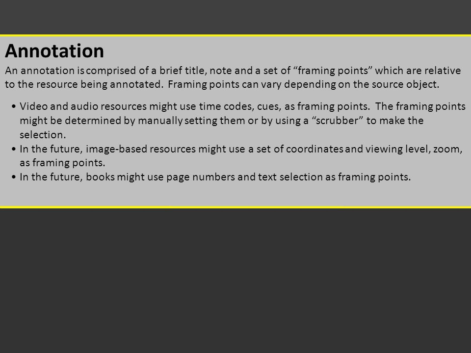"""Select a Video Annotation An annotation is comprised of a brief title, note and a set of """"framing points"""" which are relative to the resource being ann"""