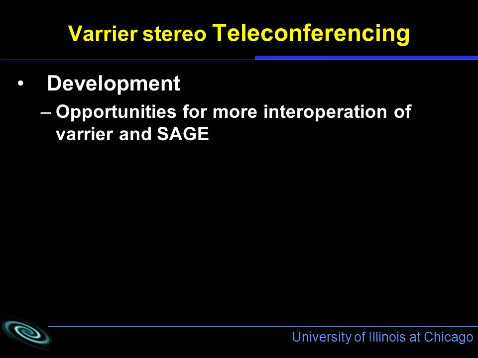 University of Illinois at Chicago Varrier stereo Teleconferencing Development –Opportunities for more interoperation of varrier and SAGE