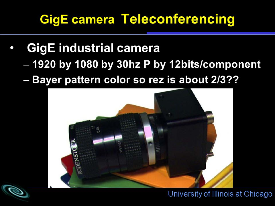 University of Illinois at Chicago GigE camera Teleconferencing GigE industrial camera –1920 by 1080 by 30hz P by 12bits/component –Bayer pattern color so rez is about 2/3