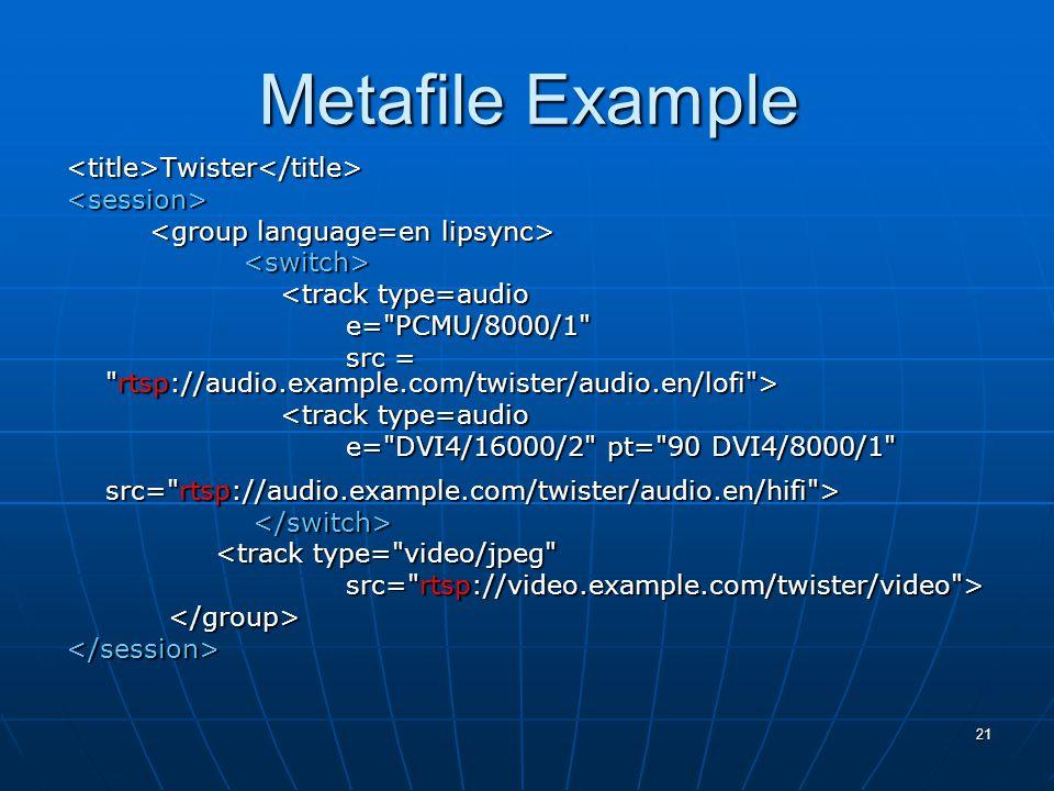 21 Metafile Example <title>Twister</title><session> <track type=audio <track type=audio e= PCMU/8000/1 e= PCMU/8000/1 src = rtsp://audio.example.com/twister/audio.en/lofi > src = rtsp://audio.example.com/twister/audio.en/lofi > <track type=audio <track type=audio e= DVI4/16000/2 pt= 90 DVI4/8000/1 e= DVI4/16000/2 pt= 90 DVI4/8000/1 src= rtsp://audio.example.com/twister/audio.en/hifi > src= rtsp://audio.example.com/twister/audio.en/hifi > <track type= video/jpeg <track type= video/jpeg src= rtsp://video.example.com/twister/video > src= rtsp://video.example.com/twister/video > </session>