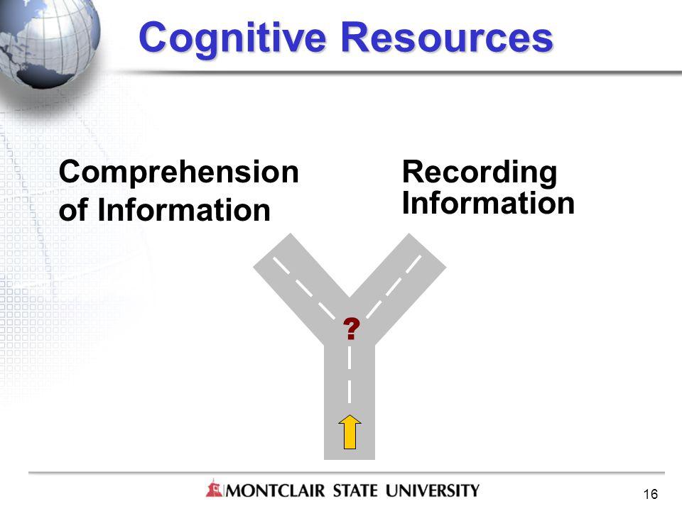 16 Cognitive Resources Recording Information Comprehension of Information ?