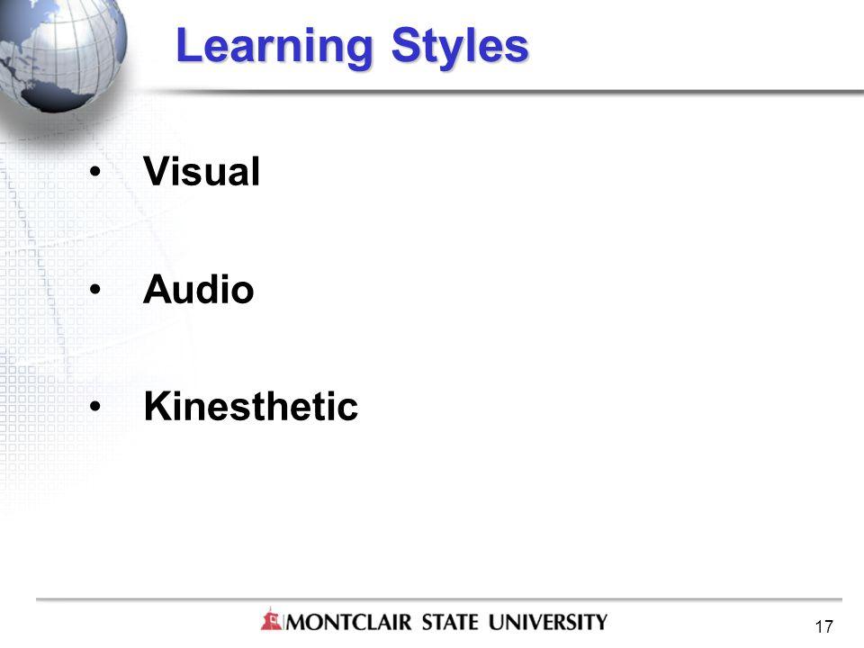 17 Learning Styles Visual Audio Kinesthetic