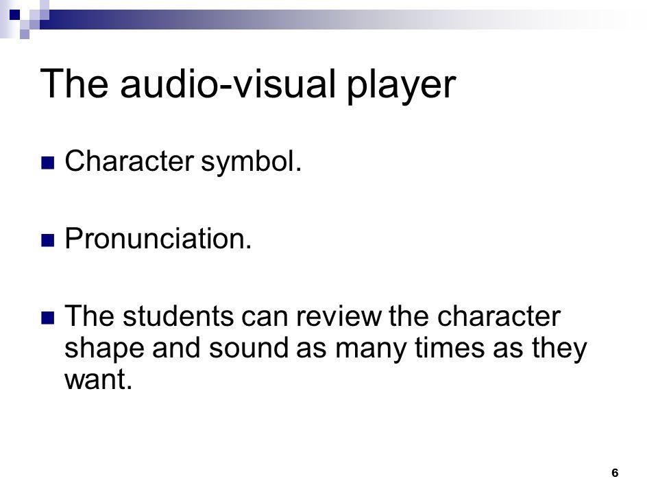 6 The audio-visual player Character symbol. Pronunciation.