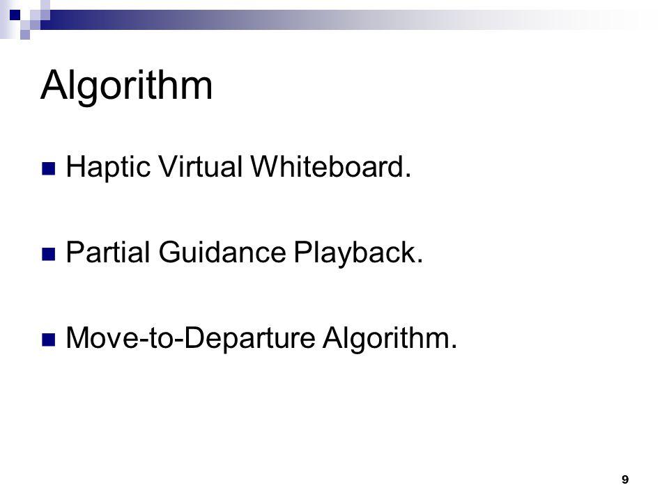9 Algorithm Haptic Virtual Whiteboard. Partial Guidance Playback. Move-to-Departure Algorithm.
