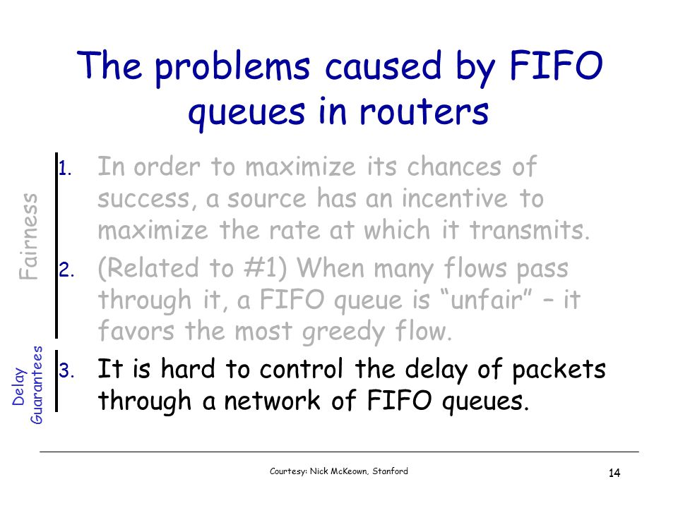 Courtesy: Nick McKeown, Stanford 14 The problems caused by FIFO queues in routers 1.