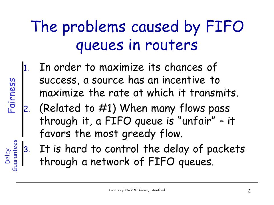 Courtesy: Nick McKeown, Stanford 2 The problems caused by FIFO queues in routers 1.