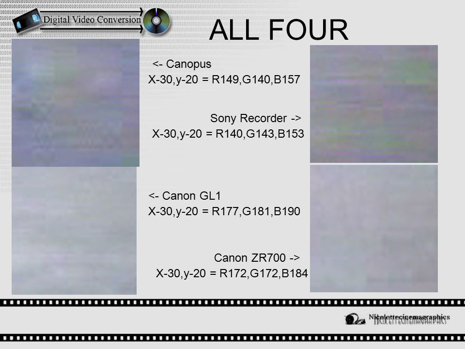ALL FOUR Sony Recorder -> <- Canopus Canon ZR700 -> <- Canon GL1 X-30,y-20 = R177,G181,B190 X-30,y-20 = R172,G172,B184 X-30,y-20 = R140,G143,B153 X-30,y-20 = R149,G140,B157