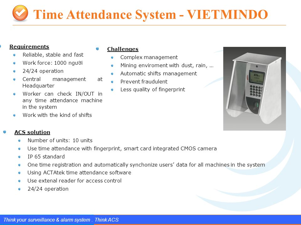 www.splendIDtechnology.com.vn Confidential Property of SplendID Technology, JSC. Time Attendance System - VIETMINDO 22 Think your surveillance & alarm