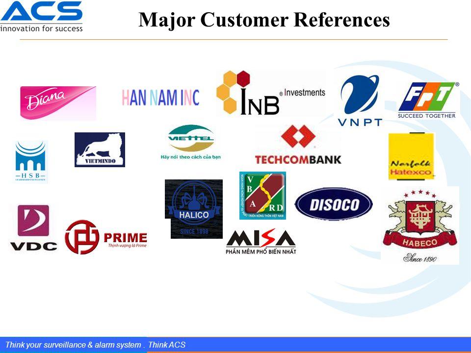 www.splendIDtechnology.com.vn 6 Confidential Property of SplendID Technology, JSC. Think your surveillance & alarm system. Think ACS Major Customer Re