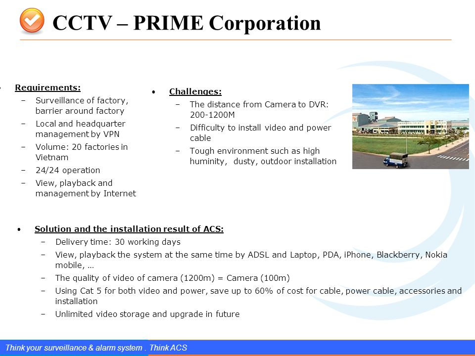 www.splendIDtechnology.com.vn 8 Confidential Property of SplendID Technology, JSC. CCTV – PRIME Corporation Think your surveillance & alarm system. Th
