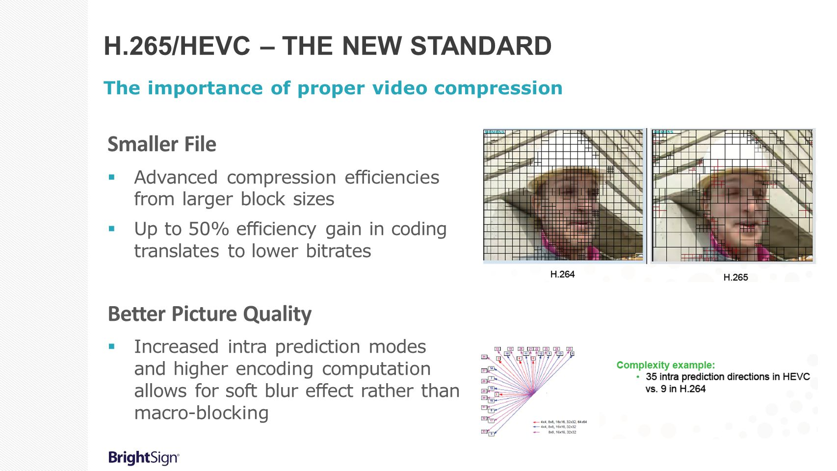 H.265/HEVC – THE NEW STANDARD The importance of proper video compression Smaller File  Advanced compression efficiencies from larger block sizes  Up to 50% efficiency gain in coding translates to lower bitrates Better Picture Quality  Increased intra prediction modes and higher encoding computation allows for soft blur effect rather than macro-blocking