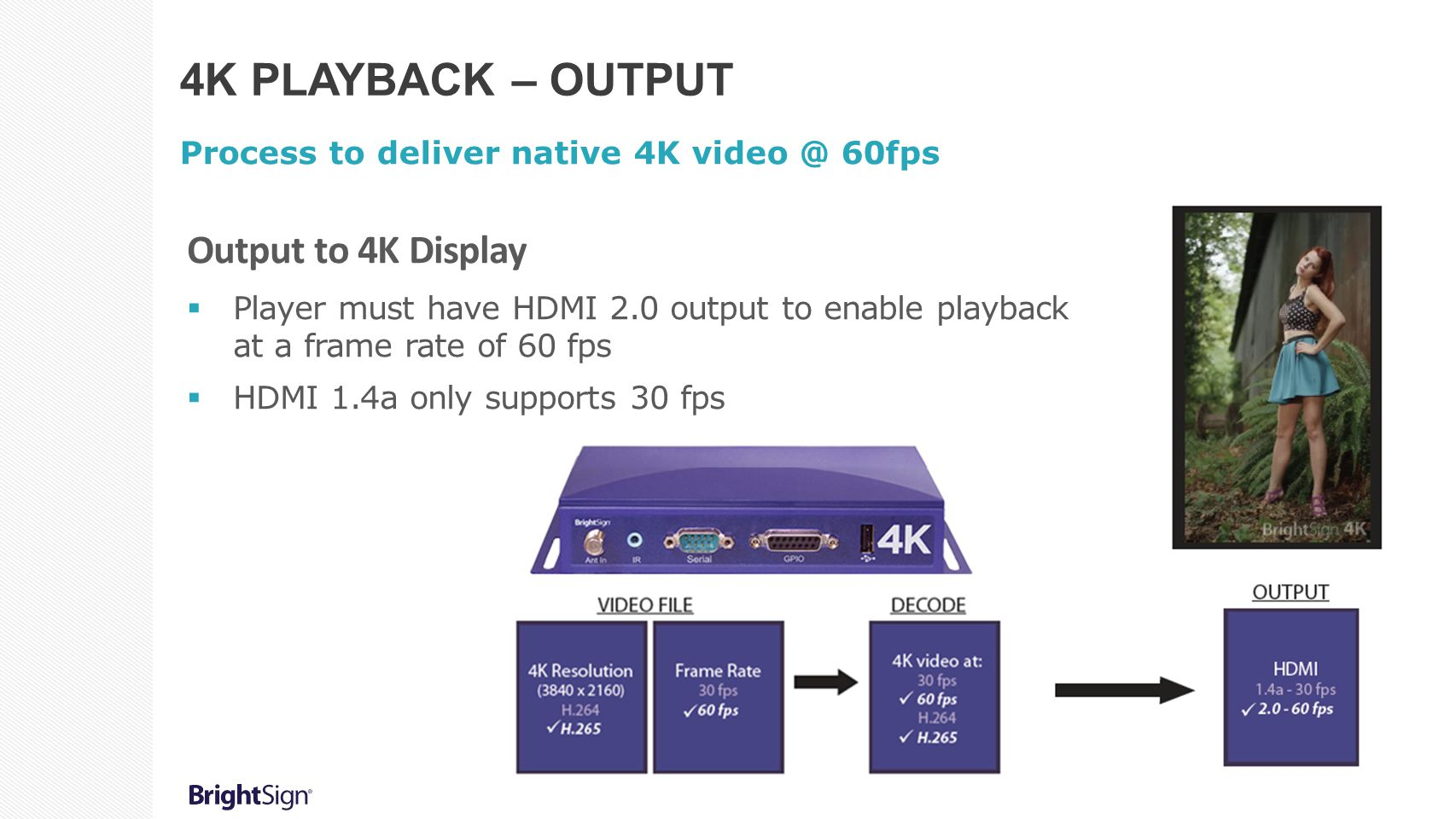 4K PLAYBACK – OUTPUT Process to deliver native 4K video @ 60fps Output to 4K Display  Player must have HDMI 2.0 output to enable playback at a frame rate of 60 fps  HDMI 1.4a only supports 30 fps