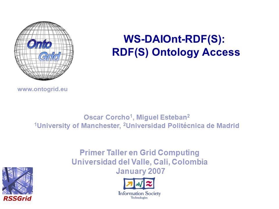 Primer Taller en Grid Computing Universidad del Valle, Cali, Colombia January 2007 WS-DAIOnt-RDF(S): RDF(S) Ontology Access www.ontogrid.eu Oscar Corc