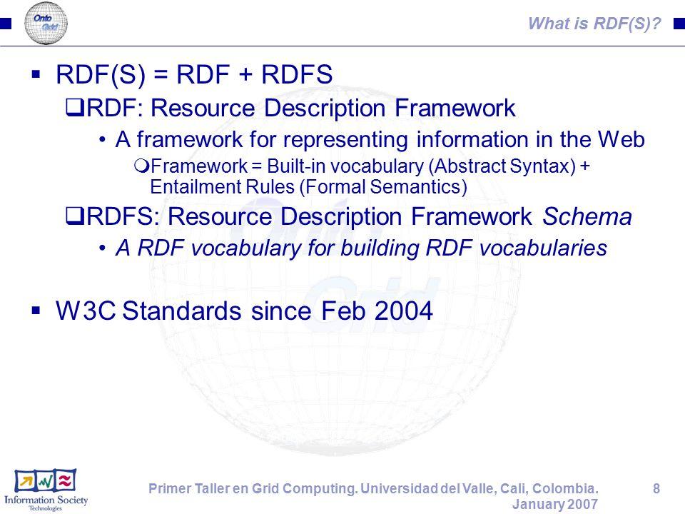 8Primer Taller en Grid Computing. Universidad del Valle, Cali, Colombia. January 2007 What is RDF(S)?  RDF(S) = RDF + RDFS  RDF: Resource Descriptio