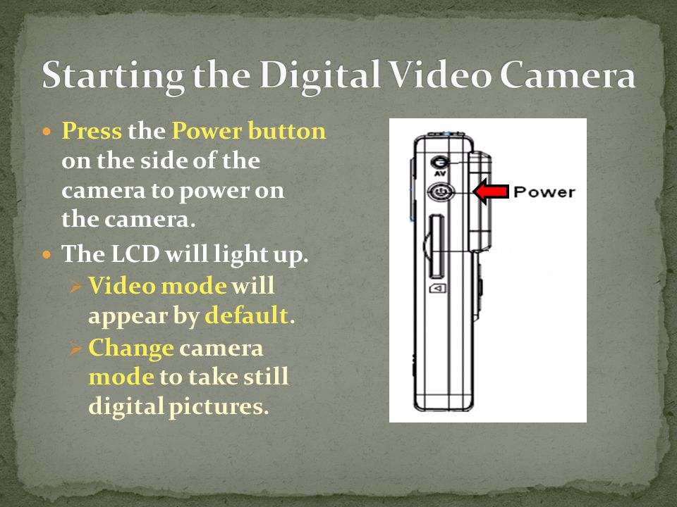 Press the Power button on the side of the camera to power on the camera.