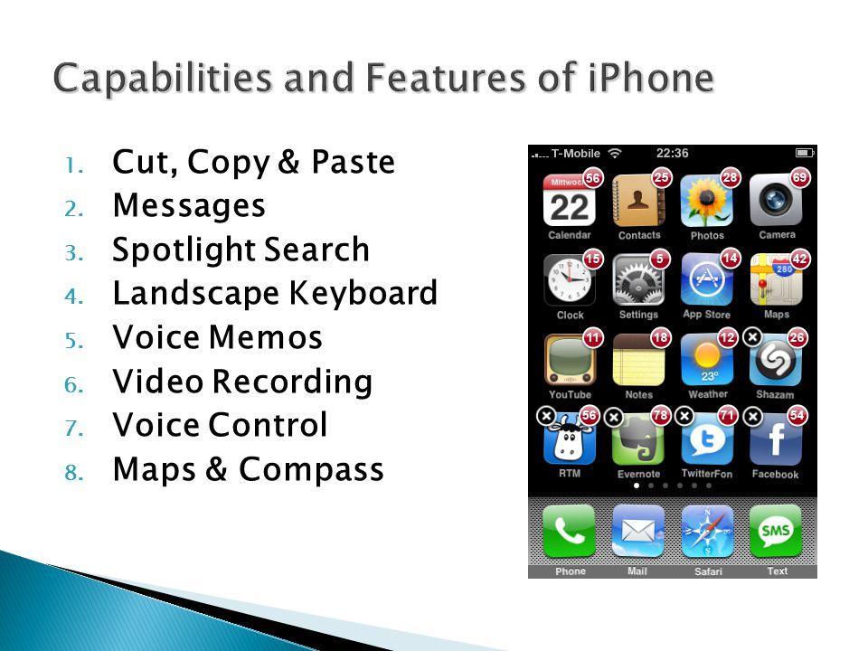 1. Cut, Copy & Paste 2. Messages 3. Spotlight Search 4.