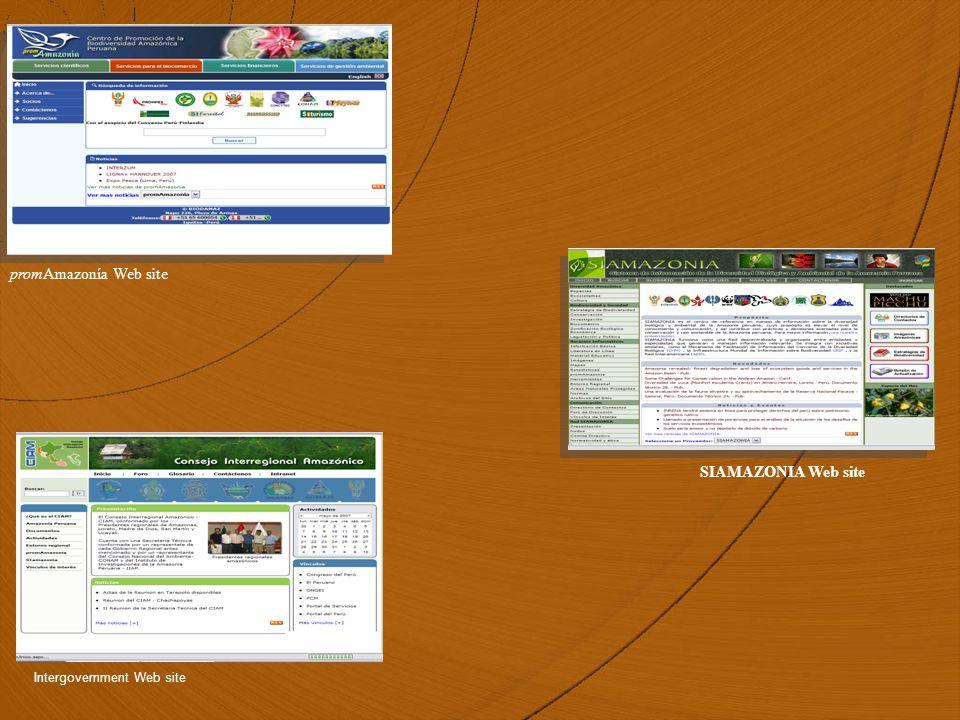 SIAMAZONIA Web site promAmazonía Web site Intergovernment Web site