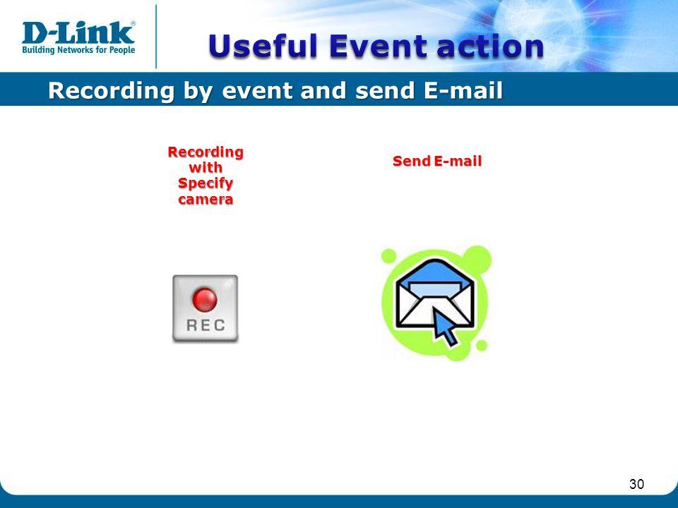 30 Recording by event and send E-mail Send E-mail Recordingwith Specify camera