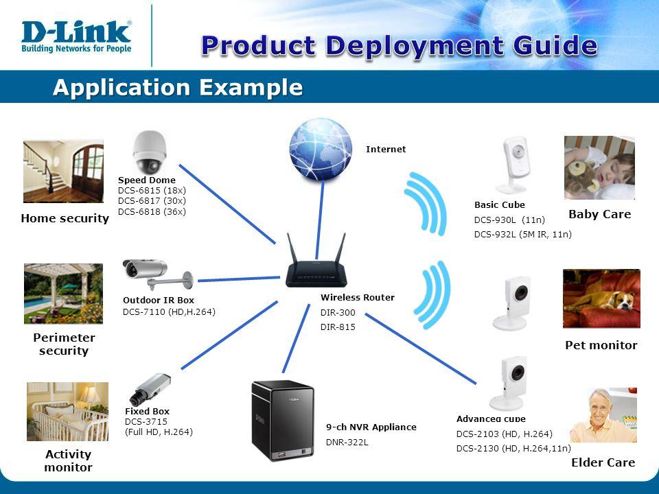 Application Example Wireless Router DIR-300 DIR-815 Speed Dome DCS-6815 (18x) DCS-6817 (30x) DCS-6818 (36x) Fixed Box DCS-3715 (Full HD, H.264) 9-ch NVR Appliance DNR-322L Basic Cube DCS-930L (11n) DCS-932L (5M IR, 11n) Outdoor IR Box DCS-7110 (HD,H.264) Baby Care Home security Perimeter security Pet monitor Elder Care Activity monitor Internet Advanced cube DCS-2103 (HD, H.264) DCS-2130 (HD, H.264,11n)