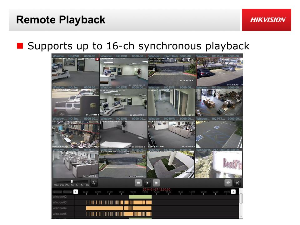 Remote Playback Supports up to 16-ch synchronous playback