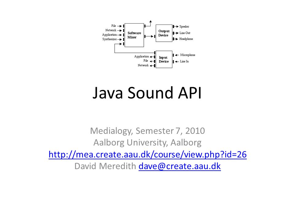 Resources The Java Sound Resources web site http://www.jsresources.org/ The Java Sound Tutorial http://download.oracle.com/javase/tutorial/sound/TOC.html