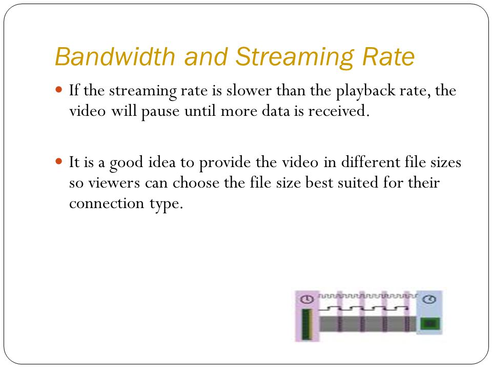If the streaming rate is slower than the playback rate, the video will pause until more data is received.