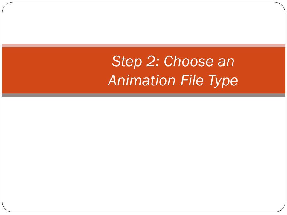 Animation File Types Animated GIF AVI MOV MPEG SWF